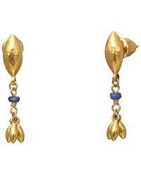 Gurhan Olive 24k 0.41 Ct. Tw. Sapphire Drop Earrings - Metallic