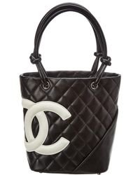 Chanel - Black Quilted Calfskin Leather Small Cambon Tote - Lyst