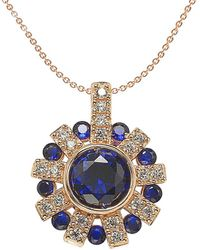 Suzy Levian Rose Gold Over Silver 3.50 Ct. Tw. Sapphire Starburst Pendant - Metallic
