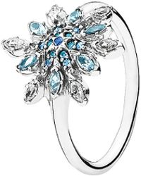 PANDORA - Crystallized Snowflake Silver Cz Ring - Lyst