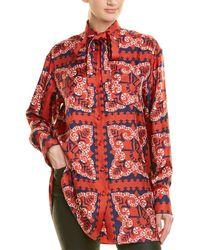 Valentino Logo Bandana Print Silk Shirt - Red