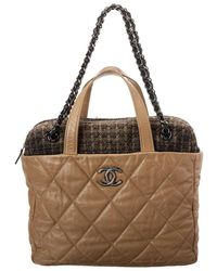 Chanel Limited Edition Beige Quilted Calfskin Leather Tote - Multicolour