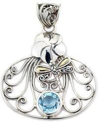 Samuel B. Jewelry 18k & Silver 2.50 Ct. Tw. Blue Topaz Dragonfly Pendant - Metallic