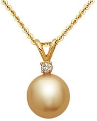 Tara Pearls - 14k Diamond & 9-10mm South Sea Pearl Necklace - Lyst