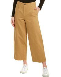 Vince High-waist Linen-blend Utility Pant - Brown