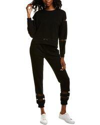 Lea & Viola 2pc Mesh Sweatshirt & Jogger Pant Set - Black