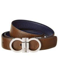 Ferragamo Reversible & Adjustable Leather Belt - Blue