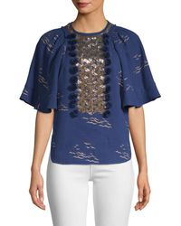 Manoush Sequin Bell-sleeve Blouse - Blue