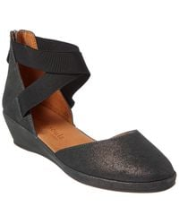 Gentle Souls By Kenneth Cole Noa Leather Wedge Sandal - Black