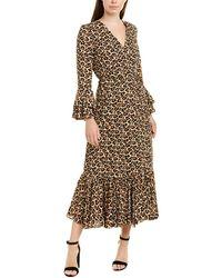 Diane von Furstenberg Madeline Leopard Wrap Ruffle Trim Midi Dress - Multicolor