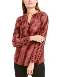 Anne Klein Pearly Dot Split Top - Red