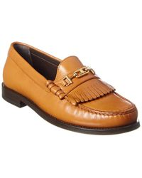 Celine Luco Triomphe Leather Loafer - Brown