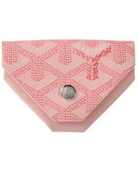 Goyard Pink Ine Canvas & Leather Triangle Coin Pouch
