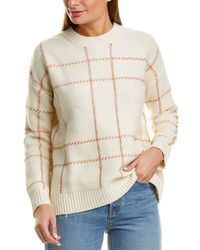 Chinti & Parker Contrast Check Wool Jumper - White