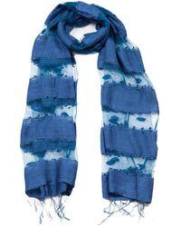 Blue Pacific Hand Woven Silk-blend Scarf - Blue