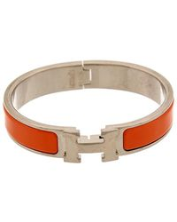 Hermès Orange Enamel Narrow Clic-clac H Bracelet - Multicolour