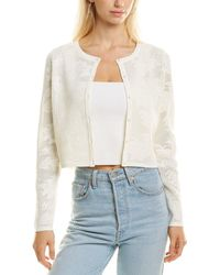 MILLY Floral Mesh Cardigan - White