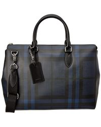 Burberry Large London Check Leather Briefcase - Black