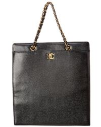 Chanel - Black Caviar Leather Turnlock Tote - Lyst
