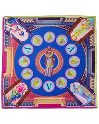Versace Vittoria Print Silk Scarf - Blue