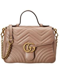 Gucci GG Marmont Small Matelasse Leather Top Handle Satchel - Brown