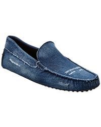 Tod's - Distressed Denim Loafers - Lyst