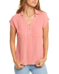 Philosophy Roll-up Sleeve Collared Shirt - Pink