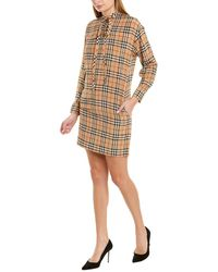 Burberry Vintage Check Silk Tie-neck Dress - Natural