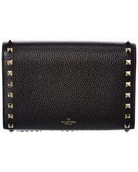 Valentino Valentino Garavani Rockstud Grainy Leather Wallet On Chain - Black
