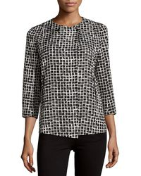 Lafayette 148 New York - Dayle Tile-print Front-button Jacket - Lyst