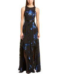 Halston Blossom Burnout Gown - Black