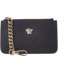 Versace Medusa Head Leather Key Case - Black