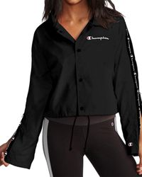 Champion Cropped Coaches Jacket - Black