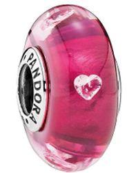 PANDORA Jewellery Silver Cz Murano Glass Cerise Heart Charm - Pink