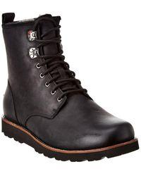 UGG Hannen Uggpure-lined Leather Waterproof Combat Boots - Black