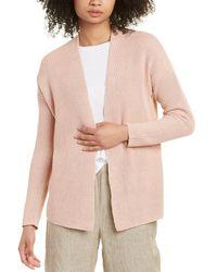 Eileen Fisher Boxy Linen-blend Cardigan - Pink