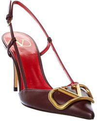 Valentino Garavani Vlogo Leather Slingback Pump - Red