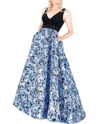Mac Duggal Sleeveless V-neck Print Ballgown C - Blue