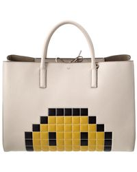 Anya Hindmarch Pixel Smiley Maxi Featherweight Ebury Leather Tote - White