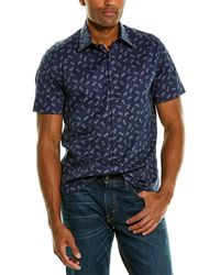 Stone Rose Printed Woven Shirt - Blue