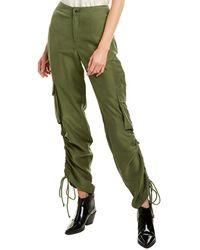 Nicole Miller Washed Habotai Silk Cargo Pant - Green