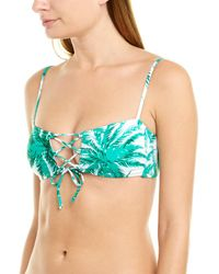 MILLY Cabana Laced Front Bikini Top - Green