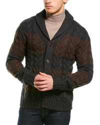 Loft 604 Cable Stripes Wool-blend Cardigan - Brown