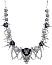 Swarovski Fantastic Rhodium Plated Bib Necklace - Metallic