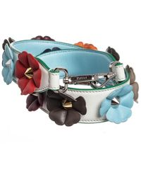 Fendi Flowerland Strap You Interchangeable Leather Shoulder Strap - Blue