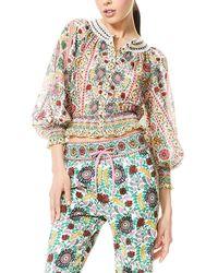 Alice + Olivia Cherelle Gathered Silk-blend Blouse - Multicolour