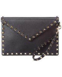 Valentino Rockstud Leather Pouch - Black