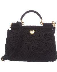 Dolce & Gabbana Sicily Cordonetto Lace Satchel - Black
