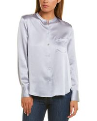 Vince Slim Fitted Band Collar Silk Blouse - White