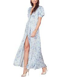 LoveShackFancy Stacy Silk Maxi Dress - Blue